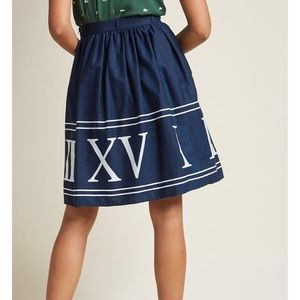 NWOT ModCloth Roman Numeral Skirt Navy Vintage